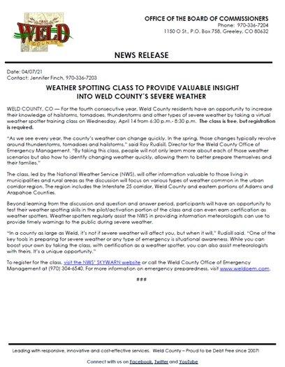 Weld County weather class flier