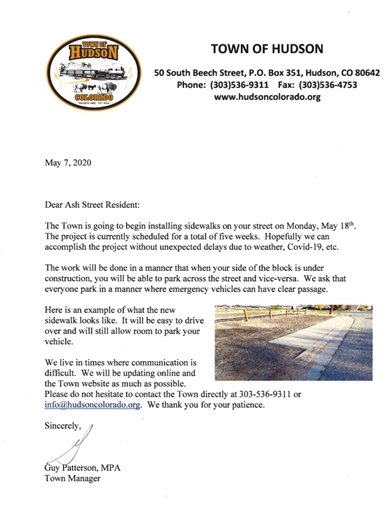 Ash street project letter
